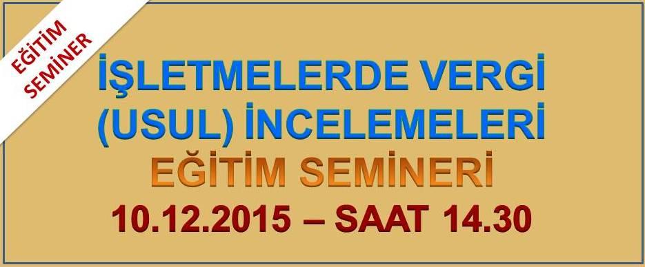 VERG� �NCELEMELER� E��T�M� (10.12.2015)