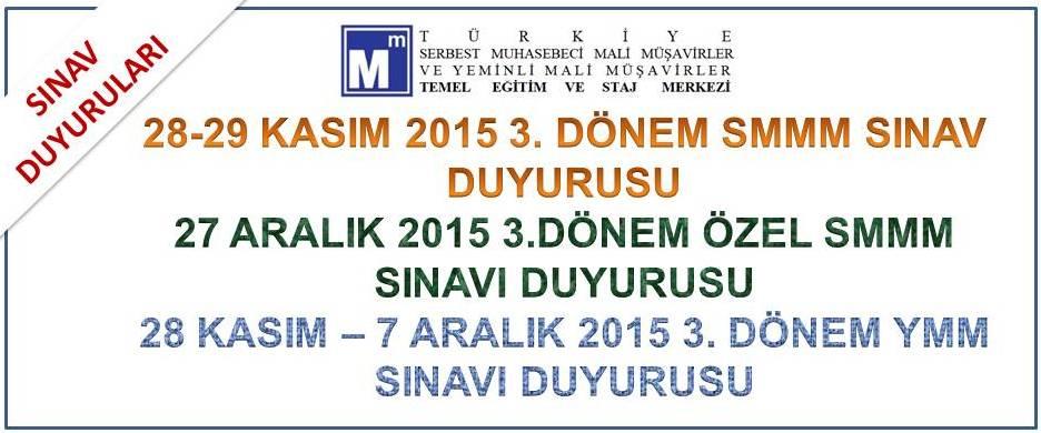 TESMER 2015-3. D�NEM SINAV DUYURULARI