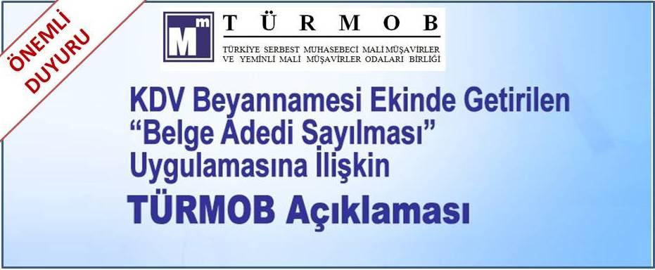 """KDV Beyannamesi Ekinde Getirilen """"Belge adedi Sayılması"""" Uygulamasına İlişkin TÜRMOB açıklaması (28.08.2017)"""