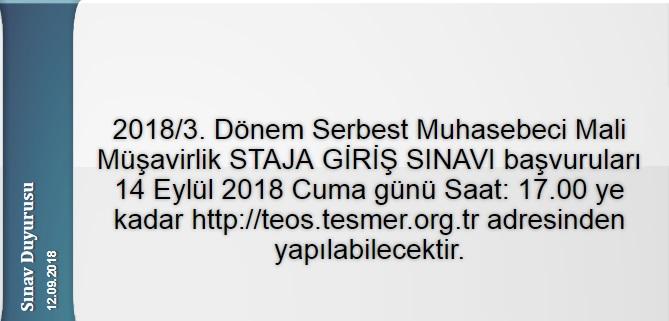 2018/3. Dönem SGS Başvurusu 14.09.2018 tarihine kadar uzatılmıştır