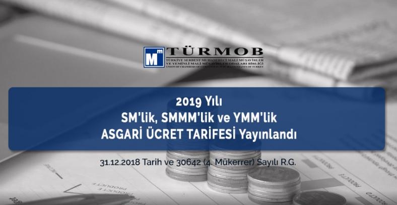 2019 YILI ASGARİ ÜCRET TARİFESİ (Res. Gaz.31.12.2018)