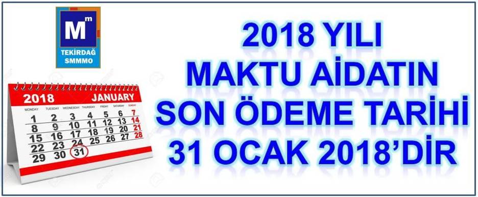 2018 YILI MAKTU AİDAT