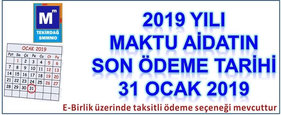 2019 Yılı Maktu Aidat