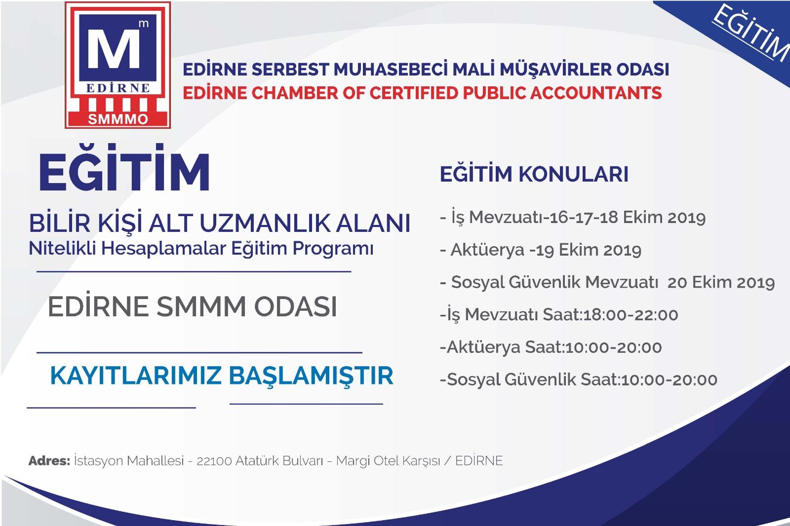 Edirne SMMM Odası Bilirkişi Alt uzmanlık eğitim programı