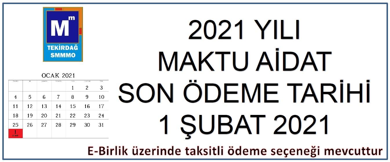 2021 Yılı Maktu Aidat