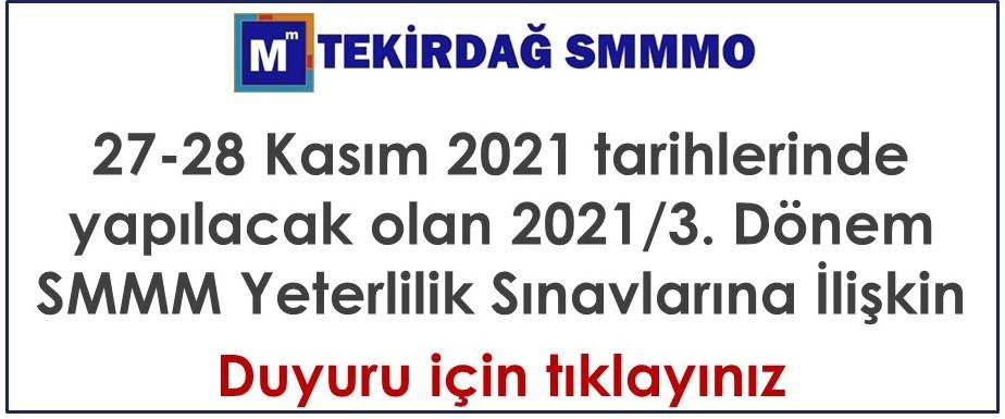 2021/3. Dönem SMMM Sınavı hak. Duyuru