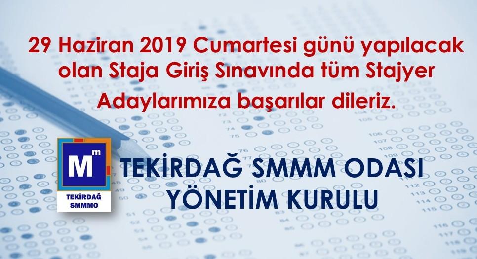 2019/2. Dönem Staja Giriş Sınavı